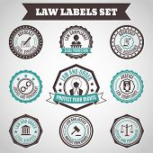 picture of punish  - Legal protection services layer crime and punishment labels set isolated vector illustration - JPG