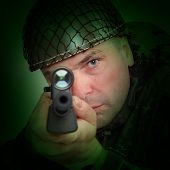 foto of sniper  - The sniper with assault rifle aiming at you - JPG