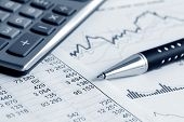 stock photo of graphs  - Financial accounting stock market graphs analysis - JPG