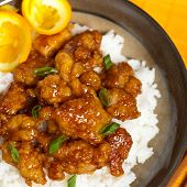 stock photo of crispy rice  - Homemade Orange Chicken with Rice - JPG