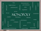 stock photo of domination  - Monopoly Word Cloud Concept on a Blackboard with great terms such as business industry dominance and more - JPG