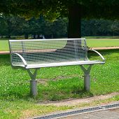 stock photo of banquette  - Garden bench in the park                                     - JPG