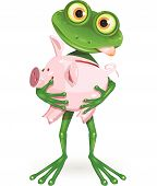 stock photo of greed  - illustration a merry green frog with piggy bank - JPG