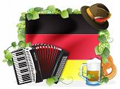 picture of accordion  - Oktoberfest hat accordion beer mug and a pretzel on the background of the German flag decorated with green hops - JPG