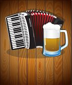 stock photo of accordion  - Accordion and mug of beer on a wooden background - JPG