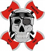 image of ax  - picture pirate skull wearing a headband and surrounded by a red ax - JPG