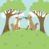 pic of bird-dog  - Dogs on a romantic appointment on a hill under trees and bird sings in a meadow - JPG