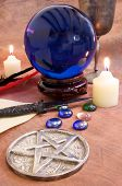 pic of wicca  - Wicca and witchcraft objects on a brown - JPG