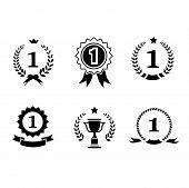 picture of rosette  - Set of black and white circular vector winner emblems and leader icons with laurel wreaths and ribbon rosettes enclosing the number 1  an award trophy and crown - JPG