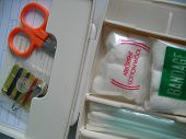 stock photo of first aid  - A mini emergency first aid kit - JPG