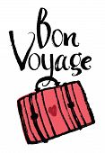 stock photo of bon voyage  - Bon Voyage Design card with red suitcase - JPG