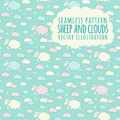 foto of counting sheep  - Cute cartoon childish seamless pattern in vector with sheep on clouds - JPG