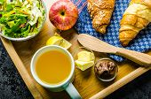 picture of croissant  - Breakfast in bed on wood tray  - JPG
