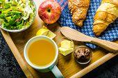 stock photo of bed breakfast  - Breakfast in bed on wood tray  - JPG