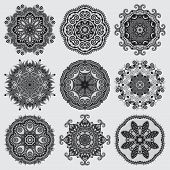 pic of lace  - Circle grey lace ornament - JPG