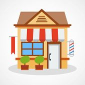 stock photo of awning  - Shop icon with red and white striped awning - JPG