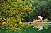 stock photo of chalet  - Chalet on the shore of a lake - JPG