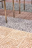 stock photo of reflexology  - It is a fake stones path to help people walking on reflexology path to keep health - JPG