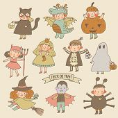 stock photo of halloween characters  - Vintage cartoon children in Halloween costumes - JPG