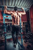 picture of bodybuilder  - Male Bodybuilder Doing Heavy Weight Exercise For Back - JPG