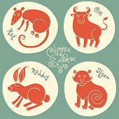 picture of oxen  - Set signs of the Chinese zodiac Rat - JPG