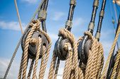 stock photo of sailing vessels  - Blocks and tackles of a sailing vessel  - JPG