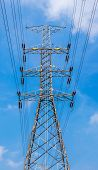 pic of utility pole  - High voltage power pole high voltage tower with blue sky background for power transmission - JPG