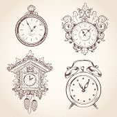 stock photo of stopwatch  - Old vintage clock and stopwatch sketch set isolated vector illustration - JPG