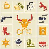 picture of bronco  - Assortment of Colorful Wild West Icons in Grid Pattern - JPG