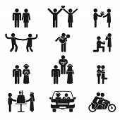 stock photo of propose  - Relationship and wedding people icon set showing a couple dating  in love  dancing  proposal  wedding  kissing  cutting the cake  in a car on honeymoon and riding a motorcycle  black silhouettes - JPG