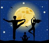 stock photo of starry sky  - Family doing yoga exercises against the background of the full moon and starry sky - JPG