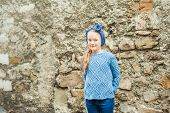 pic of headband  - Outdoor portrait of a cute fashion little girl - JPG