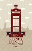 picture of phone-booth  - Vector menu for business lunches with phone booth and building of Old London - JPG