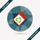 stock photo of environmental protection  - Environmental protection concept flat icon with long shadoweps10 recycled tagEnvironmental protection concept flat icon with long shadoweps10 recycled tag - JPG