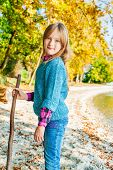 picture of pullovers  - Autumn portrait of a cute little girl - JPG