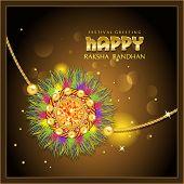 picture of rakhi  - Beautiful rakhi with gems on shiny beige background for the festival of Raksha Bandhan celebrations - JPG