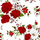 picture of english rose  - Seamless pattern with red roses - JPG