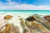 image of crystal clear  - Rocks in beautiful turquoise crystal clear sea water - JPG