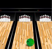 foto of bowling ball  - Bowling Ball And Skittle On Wooden Floor  - JPG
