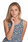 picture of preteen  - A tpensive preteen girl on the white background - JPG