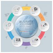 stock photo of continent  - Business Journey With Global Round Circle Continent Diagram Design Template - JPG