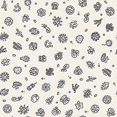 stock photo of germs  - Light Seamless Pattern with Bacteria and Germs for Medical Design - JPG