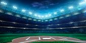 image of arena  - Professional baseball grand arena in the night - JPG