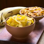 stock photo of plantain  - Bowls of salty  - JPG
