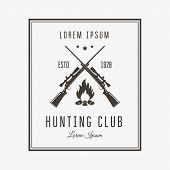 image of rifle  - Vector vintage logo or emblem for the hunting club - JPG