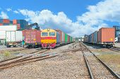 pic of railroad yard  - Freight trains on cargo terminal at dock - JPG