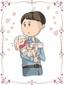 image of spoiled brat  - Illustration of young man holding his child - JPG