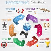 picture of realism  - Online Games Infographics Concept in Realistic 3D and Flat Style with Gamepad Earth Award and Arrows Icons - JPG
