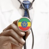 foto of ethiopia  - Stethoscope with national flag conceptual series  - JPG
