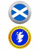 picture of cartographer  - button as a symbol SCOTLAND flag and map on a white background - JPG